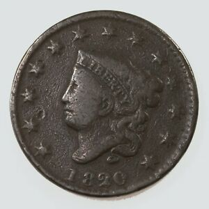RAW 1820 CORONET HEAD 1C SMALL DATE UNCERTIFIED UNGRADED US COPPER LARGE CENT