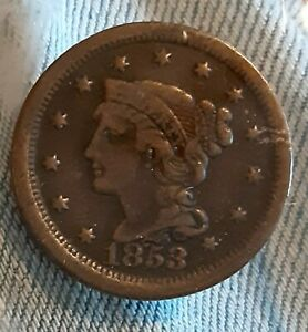 1853 BRAIDED HAIR LARGE CENT  NICE DETAILS