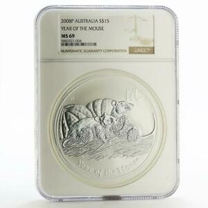 Click now to see the BUY IT NOW Price! AUSTRALIA 15 DOLLARS YEAR OF MOUSE LUNAR SERIES II MS 69 NGC SILVER COIN 2008