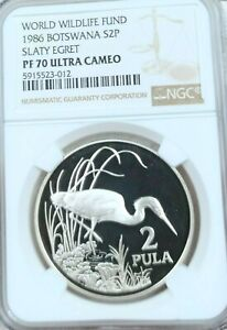 Click now to see the BUY IT NOW Price! 1986 BOTSWANA SILVER 2 PULA WILDLIFE SLATY EGRET NGC PF 70 ULTRA CAMEO PERFECT