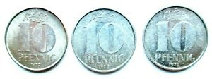 DDR LOT DE 3 X 10 PFENNIG 1972 1978 1979