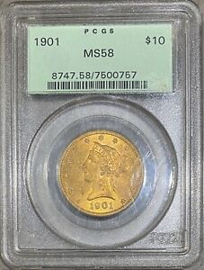 1901 $10 LIBERTY HEAD GOLD EAGLE PCGS OGH OLD GREEN HOLDER ERROR  MS  58