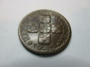 PORTUGAL 20 CENTAVOS 1945 NICE OLD COIN     E200