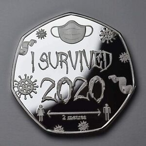 GIFT/PRESENT/NOVELTY/COIN I SURVIVED 2020' SILVER COMMEMORATIVE IN CAPSULE.