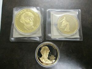 LOT 3 ABRAHAM LINCOLN GETTYSBURG ADDRESS GOLD LAYERED COIN AMERICAN MINT