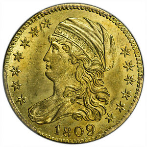 1809/8 $5 GOLD CAPPED DRAPED BUST 1807   1812 PCGS MS62