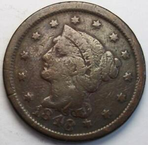 UNITED STATES 1848 LARGE CENT BRAIDED HAIR