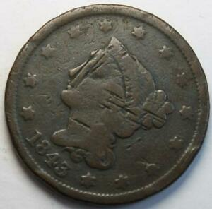 UNITED STATES 1843 LARGE CENT BRAIDED HAIR