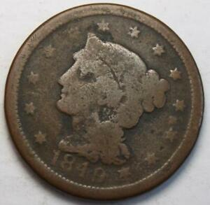 UNITED STATES 1849 LARGE CENT BRAIDED HAIR