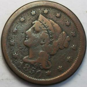 UNITED STATES 1850 LARGE CENT BRAIDED HAIR