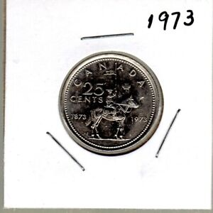 CANADA 1973 NICKEL QUARTER R.C.M.P. DESIGN SMALL BUST LOW CIRC. COND.
