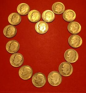 ROOSEVELT DIME 90  SILVER SET OF SEVENTEEN COINS   LOW SHIPPING