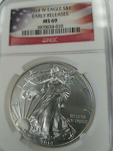 2014 W MS69 BURNISHED SILVER EAGLE NGC EARLY RELEASES   SEE BELOW