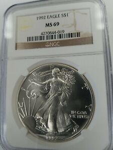 1992 MS69 AM. SILVER EAGLE NGC BROWN LABEL  SEE DESCRIPTION BELOW