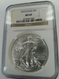 2015 MS69 AM SILVER EAGLE NGC BROWN LABEL   SEE DESCRIPTION BELOW