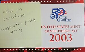 ERROR SET 2003 S SILVER PROOF SET WITH