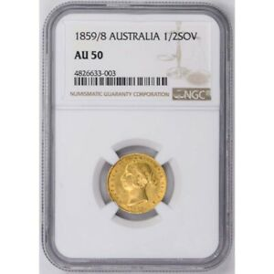 Click now to see the BUY IT NOW Price! 1859/8 AUSTRALIA 1/2 SOV HALF SOVEREIGN NGC AU50 VICTORIA INCREDIBLY  OVER