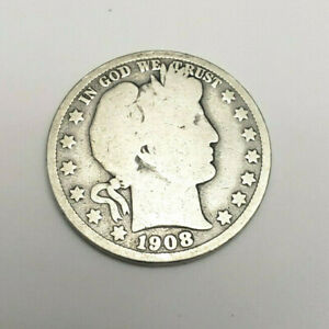 1908 P BARBER HALF DOLLAR    G   GOOD     90  SILVER      FREEE SHIPPING