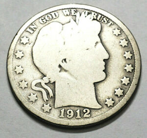 1912 P BARBER HALF DOLLAR    G   GOOD     90  SILVER      FREEE SHIPPING