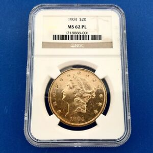 1904 P LIBERTY HEAD $20 GOLD DOUBLE EAGLE NGC MS62PL TYPE 3 WITH MOTTO BETTER