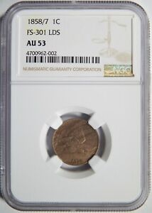 1858/7 FLYING EAGLE CENT NGC AU 53 FS 301 LDS