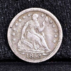 1853 HALF DIME   WITH ARROWS   VG DETAILS  35231