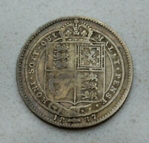 Click now to see the BUY IT NOW Price!  OLD 1887 GREAT BRITAIN BRITISH SILVER 1/  SHILLING COIN VICTORIA NICE
