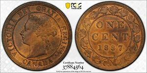 1887 CANADA LARGE CENT DOUBLE PUNCHED 87 PCGS MS 63 RB 1C