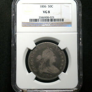 1806 DRAPED BUST HALF DOLLAR VG 08 NGC  COIN   AND INSURANCE