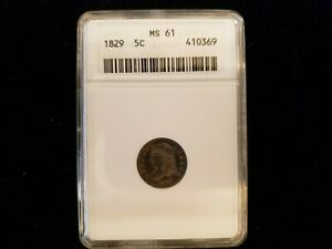 1829 CAPPED BUST ANACS 61 HALF DIME. FIRST YEAR OF ISSUE FOR THE TYPE.