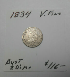 1834 BUST 1/2 DIME   FINE   GREAT DETAIL   STRONG STRIKE
