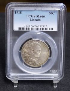 1918 LINCOLN ILLINOIS CENTENNIAL COMMEMORATIVE HALF DOLLAR   PCGS MS66  35507