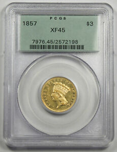 UNITED STATES 1857 $3 INDIAN PRINCESS GOLD COIN PCGS XF45 OLD GREEN HOLDER