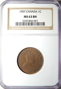 1907 CANADA LARGE CENT NGC MS 63 BN 1C