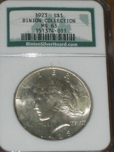 1923 PEACE SILVER DOLLARS NGC MS63 BINION COLLECTION