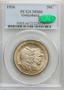 Click now to see the BUY IT NOW Price! 1936 GETTYSBURG HALF PCGS MS66 CAC LUSTROUS AMBER TONING ON EDGES CAC POP 228/50