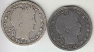 BETTER DATES 1892 O AND 1892 S BARBER QUARTER G VG