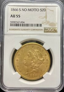Click now to see the BUY IT NOW Price! 1866 S $20 GOLD LIBERTY HEAD DOUBLE EAGLE NO MOTTO   NGC AU55