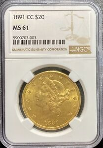 Click now to see the BUY IT NOW Price! 1891 CC $20 GOLD LIBERTY HEAD DOUBLE EAGLE NGC MS61  CARSON CITY UNC