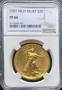 Click now to see the BUY IT NOW Price! 1907 HIGH RELIEF $20 GOLD ST. GAUDENS DOUBLE EAGLE NGC PF66 PROOF