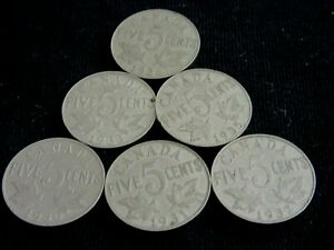 CANADA COINS 1931 1932 1933 1935OR1936  5C BUY CHOOSE  ONE OR MORE O.8/23