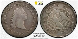 1795 $1 FLOWING HAIR DOLLAR  3 LEAVES     PCGS F DETAILS