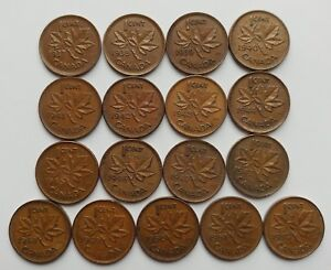 CANADA LOT OF 17      KING GEORGES V1     SMALL  CENTS     1937 1952