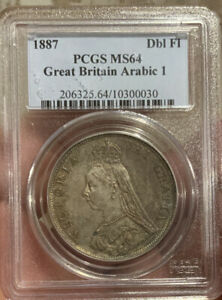 Click now to see the BUY IT NOW Price! DOUBLE FLORIN 1887 PCGS MS64 ARABIC 1 IN DATE 4S GREAT BRITIAN
