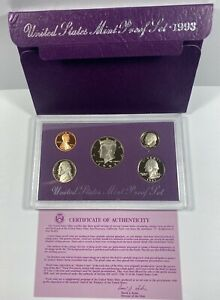 1993 US PROOF SET WITH BOX AND COA