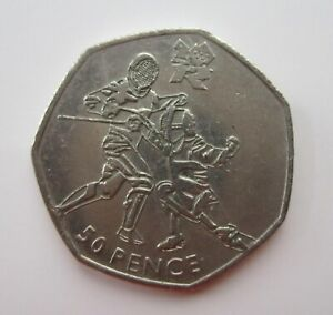 2011 LONDON 2012 OLYMPICS COMMEMORATIVE 50P: FENCING  CIRCULATED
