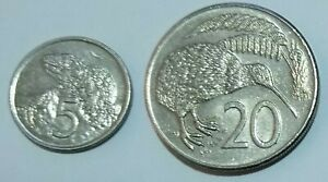 1981 NEW ZEALAND 5 20 CENTS COINS CIRCULATED