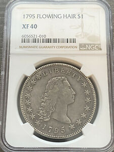 AVC  1795 3 LEAVES FLOWING HAIR DOLLAR NGC XF40   PQ & ORIGINAL