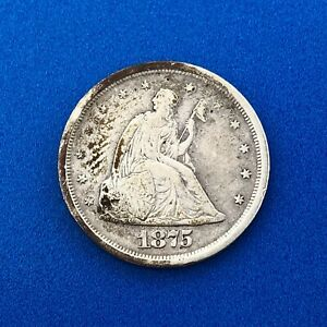 1875 S SILVER SEATED LIBERTY TWENTY CENT PIECE BETTER KEY SAN FRANCISCO COIN