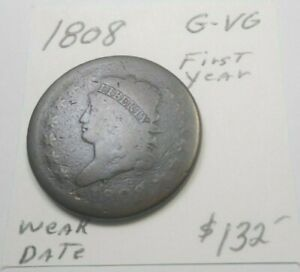 1808 CLASSIC HEAD LARGE CENT CHOCOLATE BROWN   NOT PITTED WEAKER DATE G VG